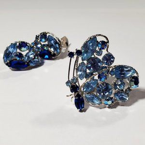 Vtg Regency Blue Rhinestone Butterfly Brooch Set